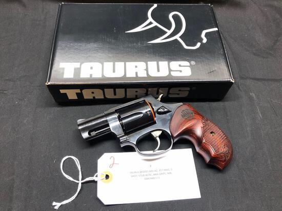 TAURUS MODEL 605-B2, 357 MAG, 5 SHOT, STUB NOSE, NRA GRIPS, NIB, SN-DN86173