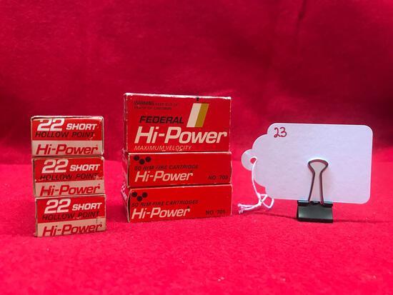 FEDERAL HI POWER, 22 CAL, SHORT, 6 BOXES