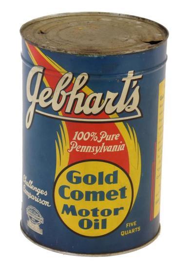 Gebhart's Gold Comet Motor Oil 5 Quart Can