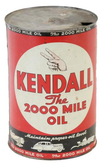 """Kendall """"The 2000 Mile Oil' Five Quart Can"""
