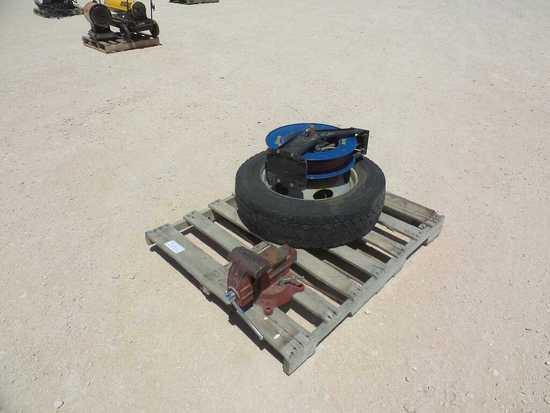 Shop Vise, Air Hose Reel, Wheel and Tire