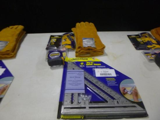 (1) 12'' Speed Square, Tape Measure, Utility Knife, Pack of 100 Blades, (2) Pair of Welding Gloves
