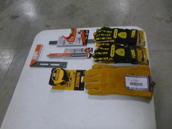 (2) Pair Gloves, (1) Pair Welding Gloves, Tape Measure, 12'' Combination Square