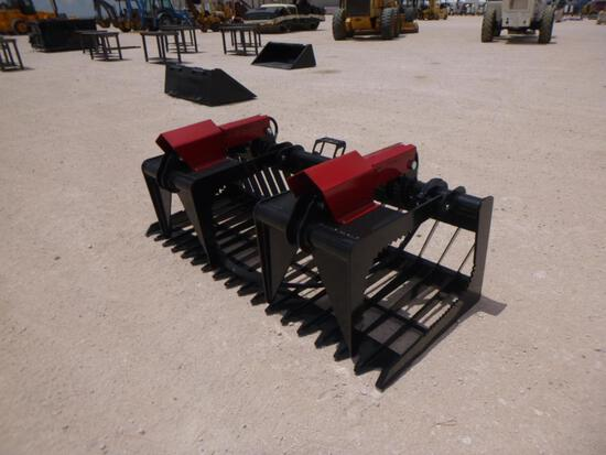 76'' Skeleton Hydraulic Dual Grapple, Skid Steer Attachment