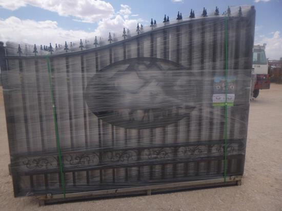 Unused Greatbear 20ft Bi-Parting Iron Gate with artwork ''DEER '' in the Middle Gate Frame
