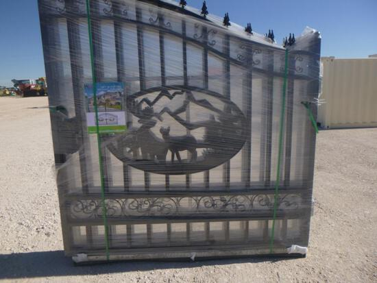Unused Greatbear 14ft Iron Gate with artwork ''DEER '' in the Middle Gate Frame