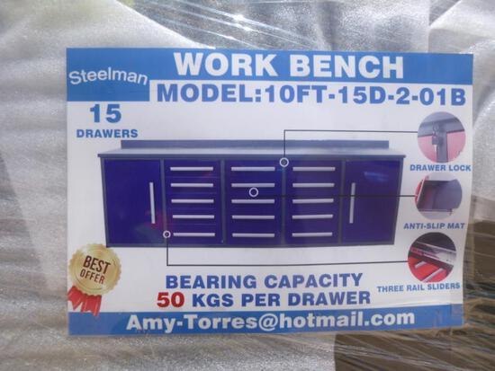 Unused Steelman 10ft Work Bench with 15 Drawers 2 Cabinets