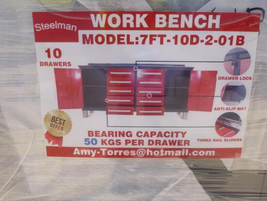Unused Steelman 7ft Work Bench with 10 Drawers 2 Cabinets