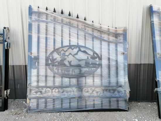 Unused Greatbear 14ft Bi-Parting Wrought Iron Gate with ''DEER'' Artwork