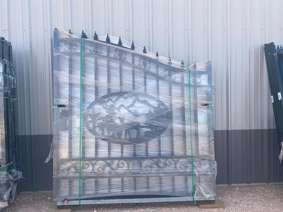 """Unused Greatbear 14Ft Bi-Parting Wrought Iron Gate with """"DEER"""" Artwork."""