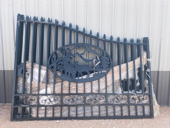 """Unused Greatbear 20 Ft Bi-Parting Wrought Iron Gate with """"DEER"""" Artwork."""