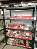 Metal Shelf with Miscellaneous Truck Parts, Oil Drain Valves, Seals