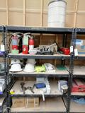 Metal Shelf with Fire Extinguisher & Miscellaneous Parts