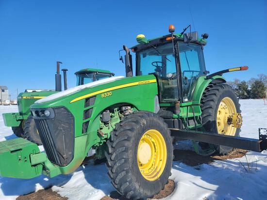 John Deere 8330 Tractor, FWD, Shows 10,689 Hrs, A/C, Heater, Quick Hitch, 4 Hyd Ports, PTO, 18.4R46