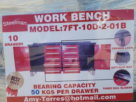 Unused Steelman 7ft Work Bench with 10 Drawers and 2 Cabinets