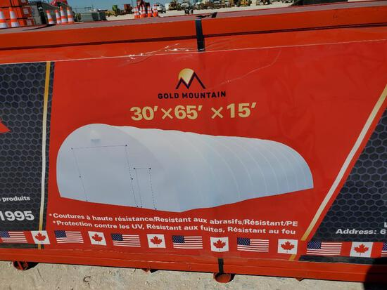 Unused Golden Mountain Dome Storage Shelter 30ft x 65ft x 15ft