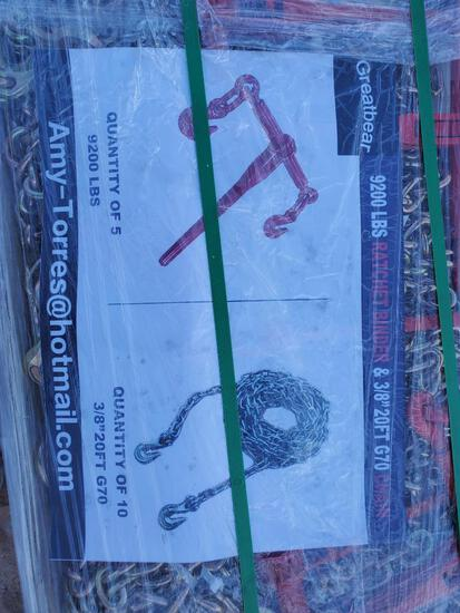 Unused Greatbear (5) 9200lbs Ratchet Binders (10) 3/8'' 20ft Chain