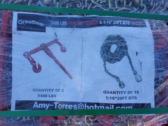 Unused Greatbear (5) 5400lbs Ratchet Binders (10) 5/16'' 20ft Chain