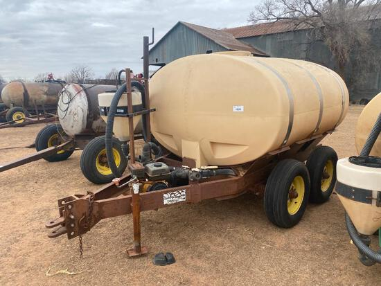 WYLIE 1000 GALLON T.A. WATER NURSE TRAILERS, GAS ENGINE & PUMP