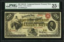 1864-65 $20 Compound Interest Treasury Note Fr191a
