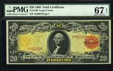 1905 $20 Technicolor Gold Certificate Note