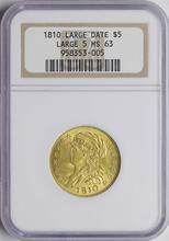 1810 Large Date $5 Classic Head Gold Coin NGC MS63