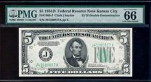 RARE 1934D $5/10 Double Denomination Federal Res.