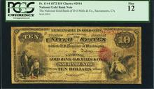 1872 $10 National Gold Bank Sacramento CA CH# 2014
