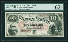 FINEST KNOWN 1878 $10 Legal Tender Note Fr.99 PMG