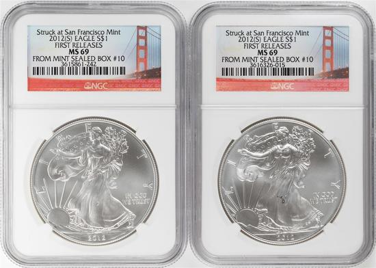 Lot of (2) 2012-S $1 American Silver Eagle Coins NGC MS69 First Releases