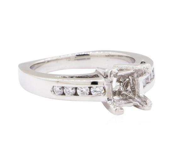 Platinum 0.25 ctw Diamond Princess Semi-mount Ring