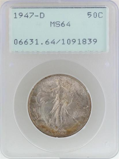 1947-D Walking Liberty Half Dollar Coin PCGS MS64 Old Green Rattler