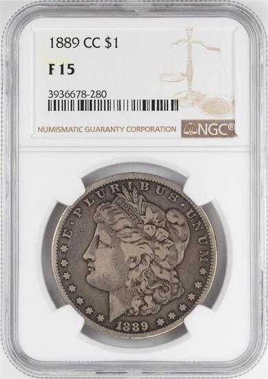 1890-CC $1 Morgan Silver Dollar Coin NGC F15