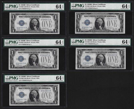 (5) Consecutive 1928B $1 Silver Certificate Notes Fr.1602 PMG Choice Uncirculated 64EPQ