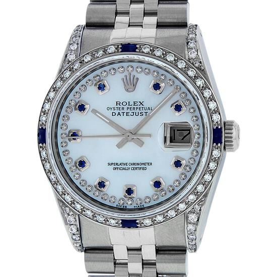 Rolex Mens Stainless Steel MOP Diamond Lugs & Sapphire String Datejust Wristwatch
