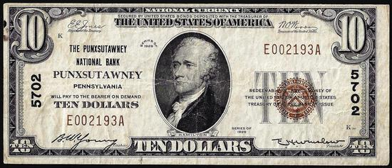 1929 $10 NB of Punxsutawney, Pennsylvania CH# 5702 National Currency Note