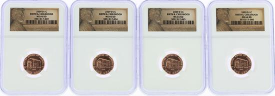 Lot of (4) 2009-D Birth & Childhood Lincoln Cent Coins PCGS MS66RD