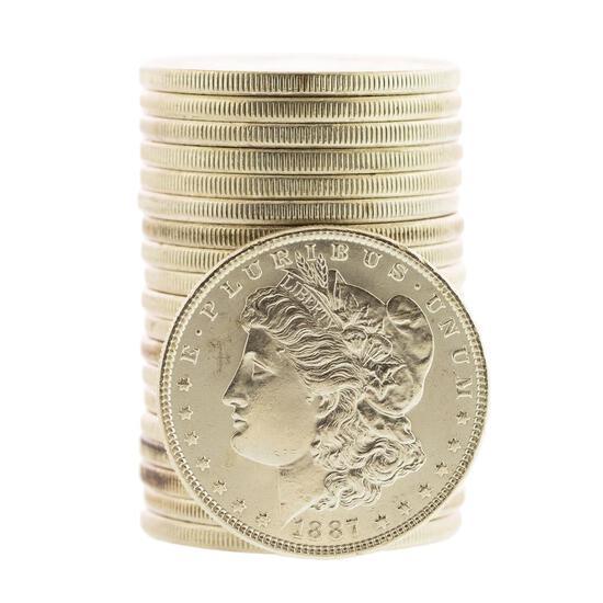 Roll of (20) Brilliant Uncirculated 1887 $1 Morgan Silver Dollar Coins