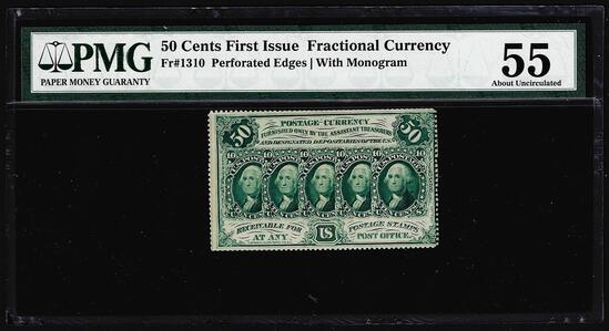July 17, 1862 First Issue 50 Cent Fractional Currency Note PMG About Uncirculated 55