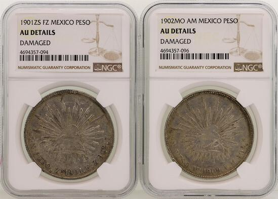 Lot of 1901ZS & 1902MO Mexico Pesos Silver Coins NGC Graded AU Details
