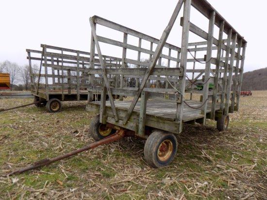 16 Wooden Hay Wagon On Gehl Running Gear Farm Machinery