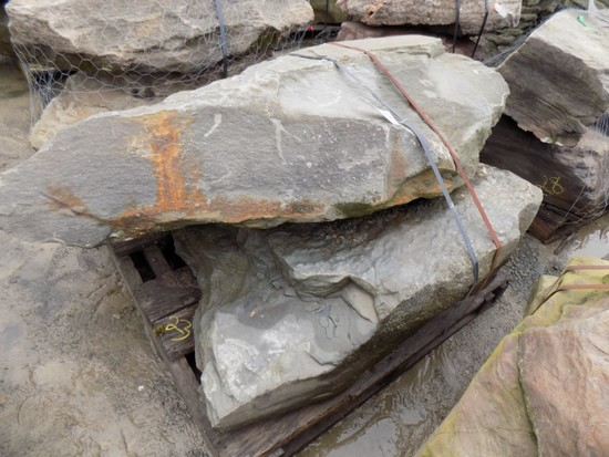 Pallet of (2) Large, Heavy Fossilled Decorative Stones/Boulders, Sold by Pa