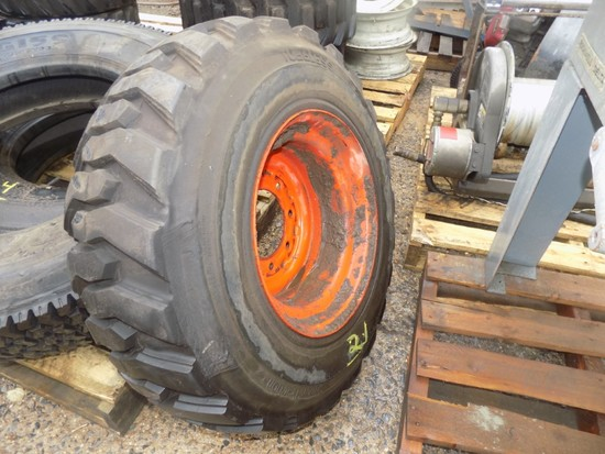 12-16.5 Solid Bobcat Tire on Rim