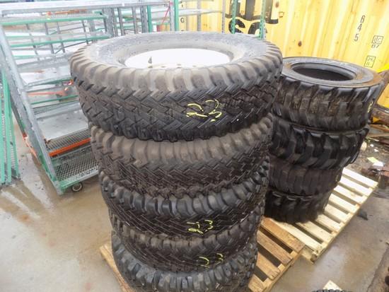 (6) 9 x 16.5 Truck Tires on 8-Lug Rims (6 x Bid Price)