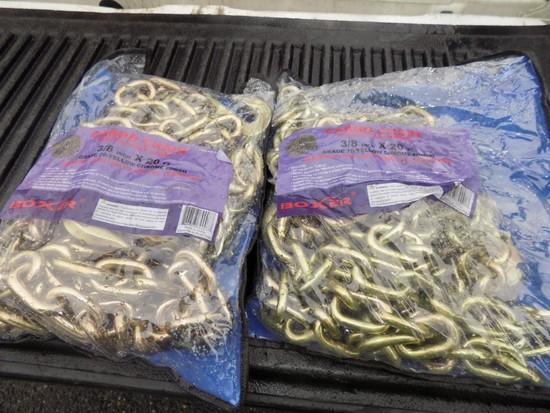 (2) New 3/8'' x 70' Chain w/Hooks (2 x Bid Price)