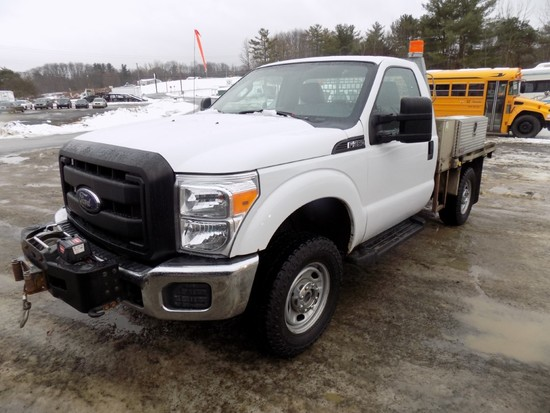 2013 Ford F350, 4WD, Reg. Cab, 8' Galv. Flatbed Body w/ Tool Boxes, Warn 12
