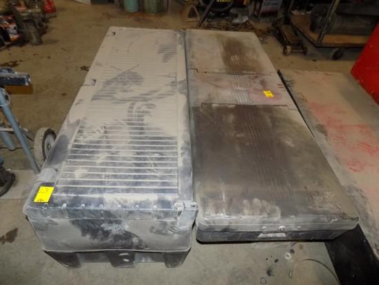 (2) Plastic Truck Tool Boxes, One is Full of Inner Tubes