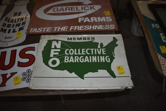 NFO Member Collective Bargaining Sign, Stamped Steel, 20'' x 14''