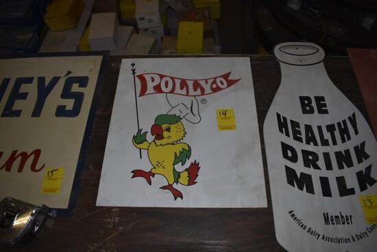 Polly-O Metal Sign, 14'' x 12''
