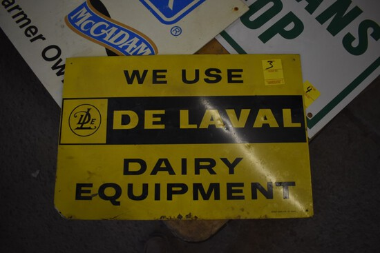''We Use DeLaval'' Metal Dairy Equipment Sign, 18'' x 12''